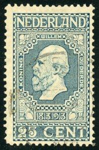 Netherlands Scott 96 UH - 1913 25c King William III - SCV $8.75