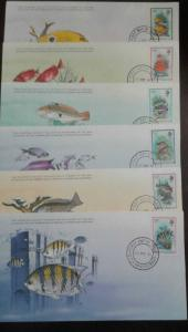 O) 1981 MONTSERRAT, FISHES -YELLOW DAM SELFISH -BIGEYE -CLOWN WRASSE-CREOLE WRAS