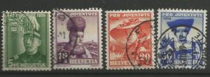 SWITZERLAND B96-99, USED,C/SET OF 4 STAMPS, HANS HERZOG & GIRLS OF TOWNS, SUR...
