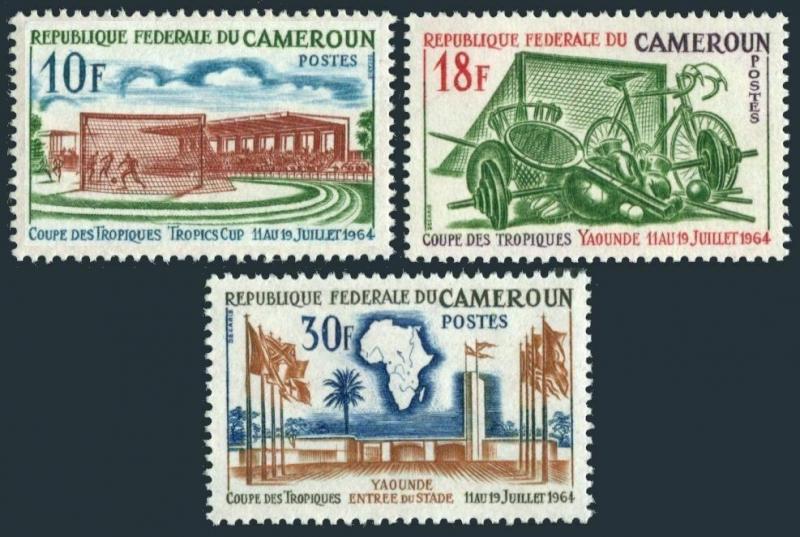 Cameroun 398-400,MNH.Michel 405-407. Tropics Cup Games,1964.Soccer,Stadium.