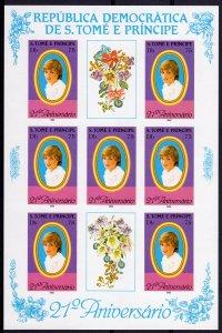 St.Thomas & Prince 1982 Mi#767B Princess Diana-Orchids Mini-Sheetlet IMPERF.MNH