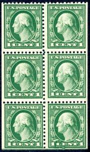 US 498e – 1917 1c green booklet pane of 6. MNH OG VF.