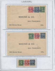 GUAM #1,2,5 ON MAKINS,Co. TO SAN FRAN. 12/9/1899 (3) DIFF COVERS BS8411 HS108G