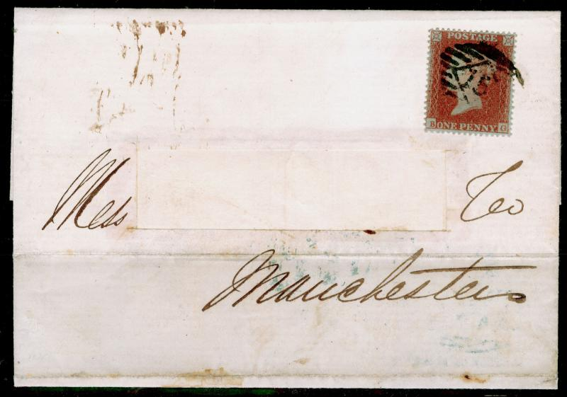 SG16b, 1d red-brown PLATE 93, FINE USED. Cat £2200. ARCHER PERF ON COVER. CERT.