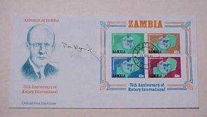 ZAMBIA  ROTARY CLUB INTERNATIONAL PAUL HARRIS CACHET UNADDRESSED