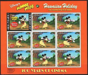Grenada. 1997. Small sheet 3494-3501. Mickey Mouse, Disney cartoons. MNH.