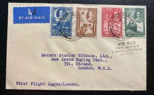 1936 Lagos Nigeria First Flight Airmail Cover FFC To London England