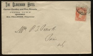 3 Cents Small Queen on Quebec Hotel cacheted 1896 cover to Paris ON