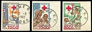 Togo B12-B14, imperf. CTO, Red Cross