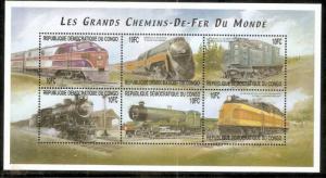 Congo - Zaire 2001 Steam Locomotive Train Electric Railway Transport Sc 1563 ...