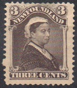 Newfoundland Sc 51 1887 3c umber brown Victoria stamp mint
