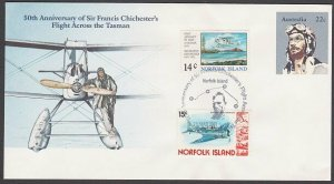 NORFOLK IS 1981 cover Francis Chichester airmail commem pmk.................A729