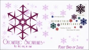 2015, Geometric Snowflakes, Purple, FDC, Digital Color Postmark,  15-287