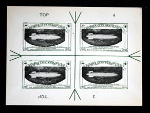 1933 USS Akron Rubber City Stamp Club Cinderella ERROR Proof Inverted Zeppelin