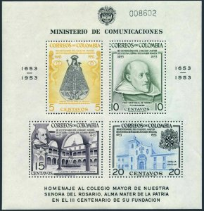 Colombia 632a,C266a,MNH.Michel 713-720 Bl.8-9. Senior College of Our Lady.1954.