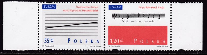 Poland 1998 Europa Issue Festivals Music  Pair Format  VF/NH