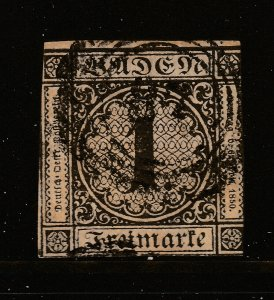 Baden a 1K on buff used from 1851 (SG 1)