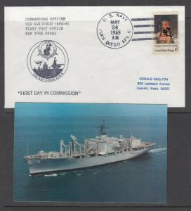 NAVY SHIP USS SAN DIEGO (AFS-6) -  with picture postcard - NICE!!