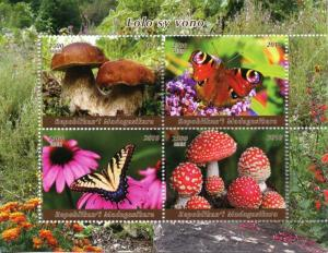Madagascar 2018 MNH Mushrooms & Butterflies 4v M/S Fungi Nature Stamps