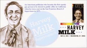 SC 4906, 2014 Harvey Milk, Digital Color Postmark, FDC, KSC Cachets Item 14-102