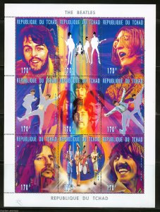 Chad 1996  Sc#722 The Beatles Sheetlet (9) Perforated MNH