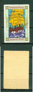 Germany. Poster Stamp 1909. MNH. HALA Cacao  1959-1909. Bern Most. Sail Ship.
