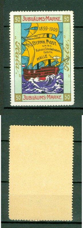Germany. Poster Stamp 1909. MNH. HALA Cacao  1959-1909. Bern Most. Sail Ship.
