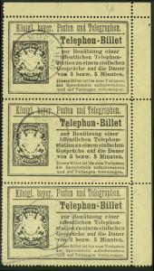 Germany Bavaria 25pf Strip 3 Telephone Stamp 42335