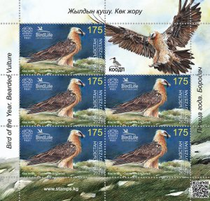 Stamps of Kyrgyzstan 2021- Bird of the Year . The Bearded Vulture. Mini sheet.