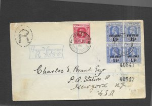 CAYMAN ISLANDS 1918 REGISTERED COVER-BLOCK OF 4 WAR TAX STAMPS