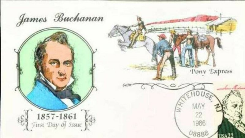 COLLINS HAND PAINTED 2217 James Buchannan The Pony Express Mail Service