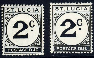 ST LUCIA 1949-65 Decimal 2c. Postage Dues SG D7a & SG D11 MINT