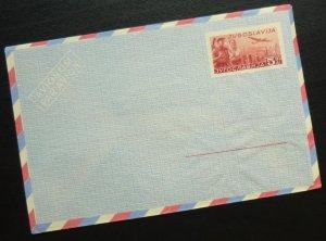 Yugoslavia c1950 Unused Airmail Postal Stationery Envelope - 5 Dinars R! A3