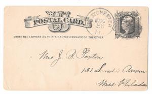 UX5 West Chester PA to Philadelphia 1880 Cork Cancel Postal Stationery Card
