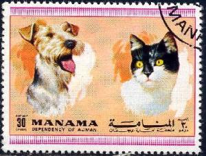 Dog, Cat, Manama stamp used