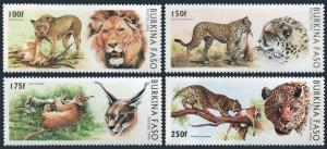 Burkina Faso 1079-1082,MNH.Michel 1437-1440. Wild Cats 1996.Panthera leo,Lynx,