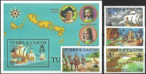 1988 Turcs+Caicos 500 Years America, Columbus, Santa Maria, Set+Sheet VF/MNH!