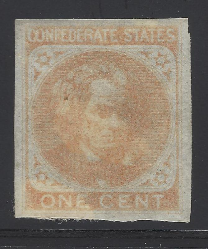 1862 CSA - Scott# 14 - MH Good Margins - Appears to Have Partial OG (BV23)