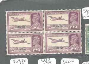 INDIA CHAMBA (P0804B) KGVI 14A  SG 120 BL OF 4      MNH