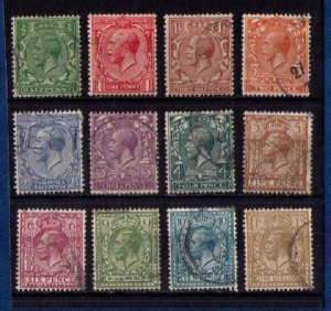 Great Britain KGV Sc #187-200 (A Complete Set Of Twelve) Used F-VF Cat.$72.50