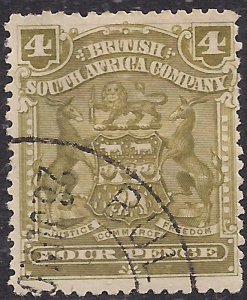 British South Africa Company 1898 - 08 QV 4d Olive used SG 82 ( 942 )