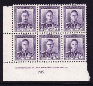 NEW ZEALAND  1938-52  8d  VIOLET  KGVI   PLATE BLK 6   #110  MNH