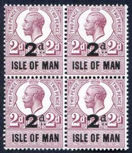 Isle of Man 1921 KGV 2d on 2d Revenue Stamp U/M Block of Four