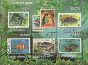 St. Thomas & Prince Islands 2010 Sc 2317 Birds Duck fish snake bat WWF CV $12.75