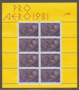 Switzerland, 1983 Pro Aero, Miniature Sheet of 8 MNH,  superb