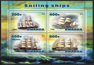 Rwanda 2013 Sailing Ships Boats (2) MNH Cinderella !