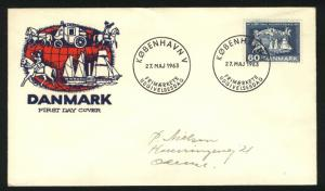 Denmark. FDC. Cachet. 1963 100 Year Post Conference.Slania