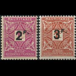 MAURITANIA 1927 - Scott# J17-8 Numeral Surch. Set of 2 NH