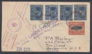 Tonga Sc 38, 40 on 1936 Tin Can Mail Cover to San Diego