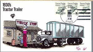 Pugh Designed/Painted 1930's Tractor Trailer FDC.. 31 of Only 48 created!